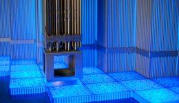 Metal tubes in blue light